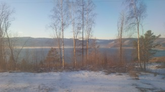 Lake Baikal as we travel along the train